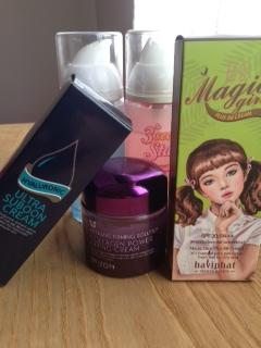 Algunos productos de cosmética asiática